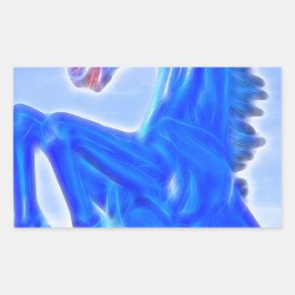 Blucifer The Rearing Blue Mustang Horse.jpg Rectangular Sticker