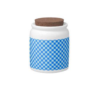 - Blue1 - azul a cuadros y azul de la ventisca Plato Para Caramelo