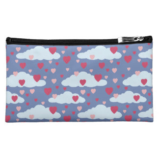 Blue Сloud Hearts Pattern Makeup Bag
