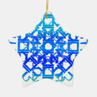 Blue 101STAR Double-Sided Star Ceramic Christmas Ornament