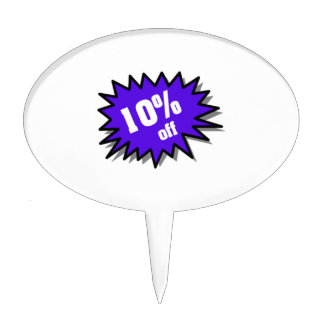 Blue 10 Percent Off Cake Topper