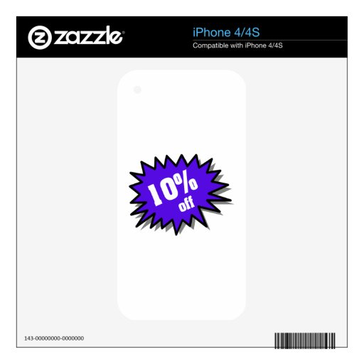 Blue 10 Percent Off Skins For iPhone 4S
