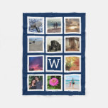 Blue 11 Photo Collage Mosaic Square Frame Monogram Fleece Blanket