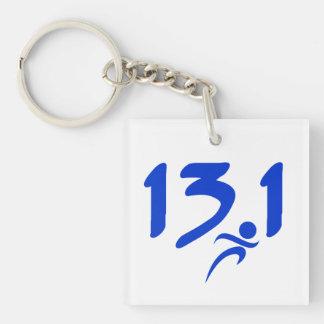 Blue 13.1 half-marathon keychain