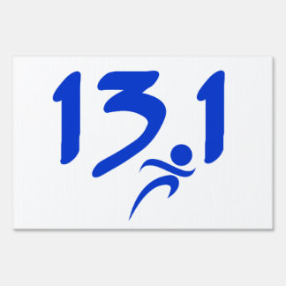 Blue 13.1 half-marathon lawn sign