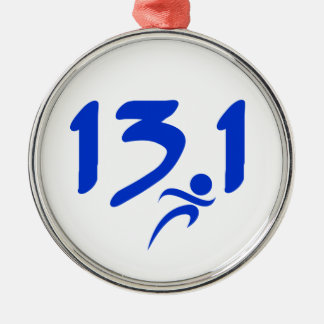 Blue 13.1 half-marathon metal ornament