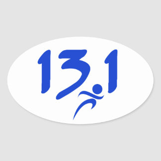 Blue 13.1 half-marathon oval sticker