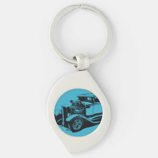 Blue 1931 5 Window Coupe Silver-Colored Swirl Metal Keychain