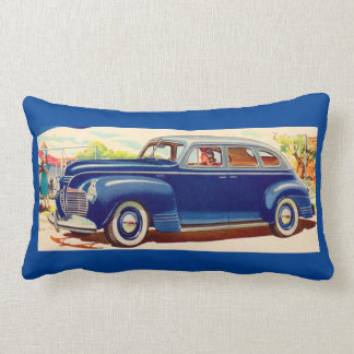 blue 1941 Plymouth Lumbar Pillow