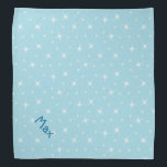 """Blue 1950s Retro Star Design Pattern Petwear Bandana<br><div class=""""desc"""">Blue 1950s Retro Star Design Pattern Petwear,  featuring white starbursts and a name template.</div>"""