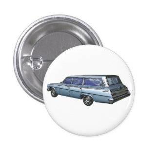 Blue 1962 Chevrolet station wagon. Button
