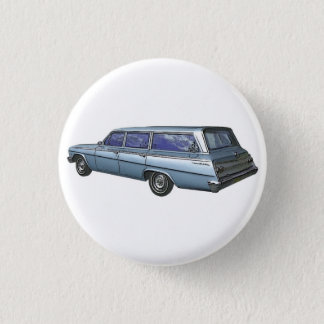 Blue 1962 Chevrolet station wagon. Pinback Button