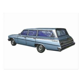 Blue 1962 Chevrolet station wagon. Postcard