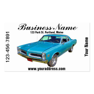 Blue 1966 Pontiac Le Mans Muscle Car Double-Sided Standard Business Cards (Pack Of 100)