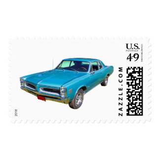 Blue 1966 Pontiac Le Mans Muscle Car Postage