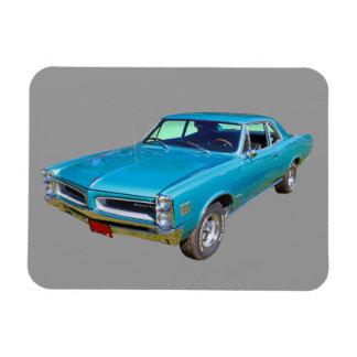 Blue 1966 Pontiac Le Mans Muscle Car Rectangular Magnets