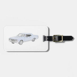 Blue 1967 Chevy Chevelle Pencil Style Drawing Luggage Tag
