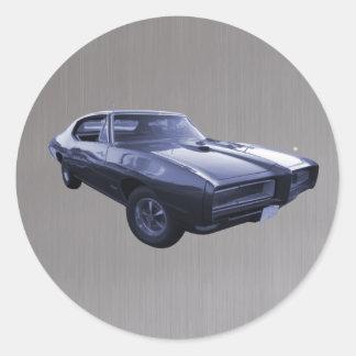 Blue 1968 Pontiac GTO brushed steel Classic Round Sticker
