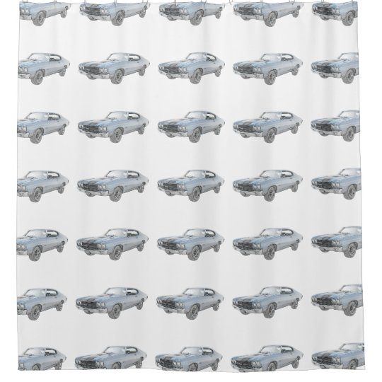 Blue 1970 Chevy Chevelle Pencil Style Illustration Shower Curtain