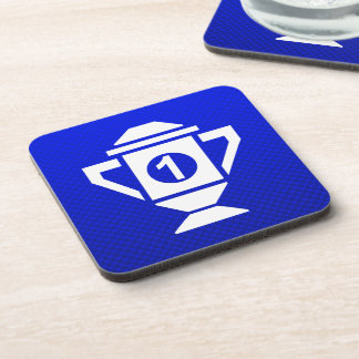 Blue 1st Place Trophy Drink Coasters