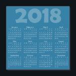 """Blue 2018 Calendar Square Magnetic Card<br><div class=""""desc"""">Blue 2018 Calendar Square Magnetic Card</div>"""
