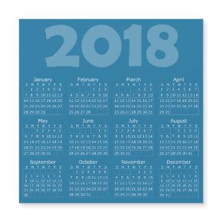 Blue 2018 Calendar Square Magnetic Card