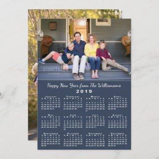 Blue 2019 Calendar 2 Custom Photos Happy New Year Holiday Card