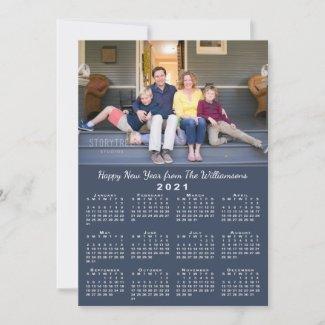 Blue 2021 Calendar 2 Custom Photos Happy New Year Holiday Card