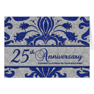 Blue 25th Anniversary Business Greeting Greeting Cards