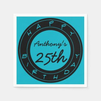Blue 25th Birthday Party Personalized Paper Napkin