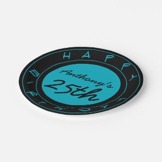 Blue 25th Birthday Party Personalized Paper Plates