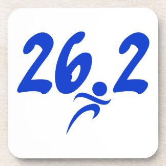 Blue 26.2 marathon beverage coaster