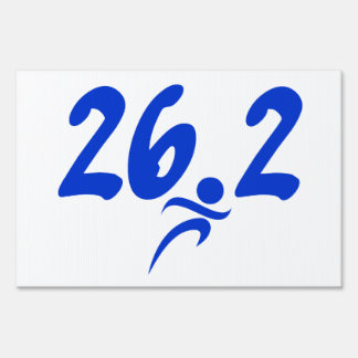 Blue 26.2 marathon lawn sign