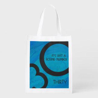 Blue 30 Decade Birthday Grocery Bag