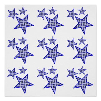 Blue 3 Star in a pattern as a poster