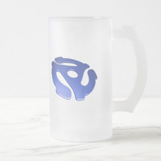 Blue 3D 45 RPM Adapter 16 Oz Frosted Glass Beer Mug