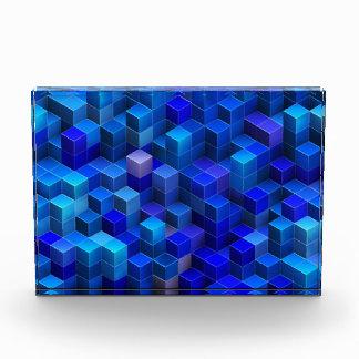 Blue 3D cubes abstract geometric pattern Award