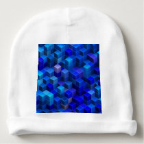 Blue 3D cubes abstract geometric pattern Baby Beanie