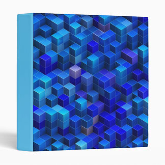 Blue 3D cubes abstract geometric pattern Binder