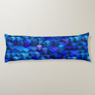 Blue 3D cubes abstract geometric pattern Body Pillow