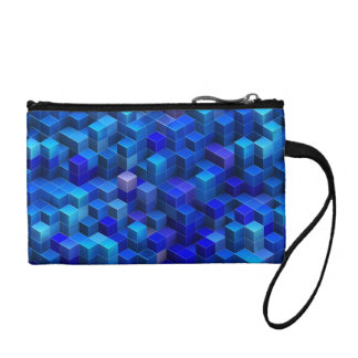 Blue 3D cubes abstract geometric pattern Change Purse