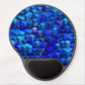 Blue 3D cubes abstract geometric pattern Gel Mouse Pad