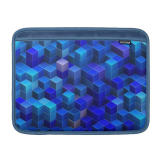 Blue 3D cubes abstract geometric pattern Sleeve For MacBook Air