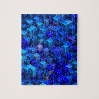 Blue 3D cubes abstract geometric pattern Jigsaw Puzzle