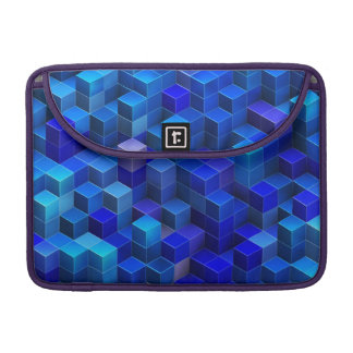 Blue 3D cubes abstract geometric pattern Sleeve For MacBook Pro