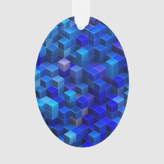 Blue 3D cubes abstract geometric pattern Ornament