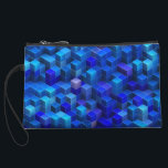 """Blue 3D cubes abstract geometric pattern Wristlet Wallet<br><div class=""""desc"""">A geometric decorative 3D pattern design made of stacked cubes,  a vibrant modern abstract Digital Art,  decorative three dimensional optical illusion in different shades of blue,  nice and trendy gifts</div>"""