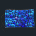 "Blue 3D cubes abstract geometric pattern Wristlet Wallet<br><div class=""desc"">A geometric decorative 3D pattern design made of stacked cubes,  a vibrant modern abstract Digital Art,  decorative three dimensional optical illusion in different shades of blue,  nice and trendy gifts</div>"