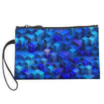 Blue 3D cubes abstract geometric pattern Wristlet Wallet