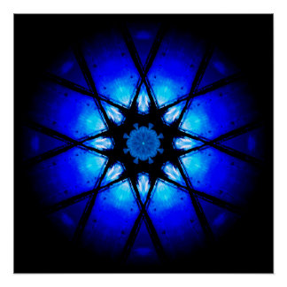 Blue 3D Energy Ball Poster